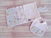 Porta pannolini e salviette da borsa + bavaglio (nit bimbo)