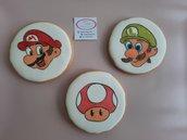 Biscotti tondi  Super  Mario Luigi segnaposto festa a tema compleanno 6,8cm