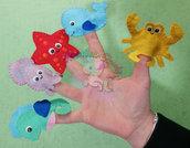 Marionette da dita--gioco in pannolenci tema mare