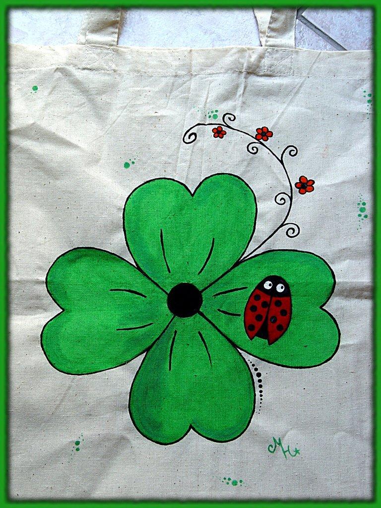 borsa dipinta a mano - COCCINELLA