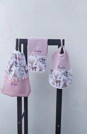 Set per scuola materna personalizzabile , zainetto,asciugamano e bavaglio, con fantasia cervo