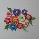 Set di 10 fiori di diversi colori all'uncinetto