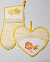 set guantone e presina cuore, cucina, ricamo punto croce, arance e limone