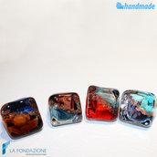 4 Anelli Cubo Calcedonio - Anello fedina a a fascia in vetro di Murano e avventurina fatto a mano