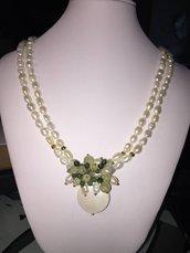 Collana due fili Perle di Fiume, madreperla e pietre dure
