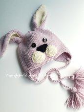 Berretto/cappello coniglio - lana merino - paraorecchie - fatto a mano - maglia - bambino