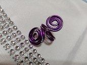 Anello wire viola e argento
