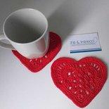 Sottotazze cuore uncinetto/ idea regalo lui lei / regalo per San Valentino
