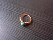 Anello wire in rame con crisocolla