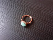 Anello wire in rame con amazzonite