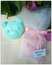 Saponetta orsetto carrozzina piedino segnaposto nascita battesimo