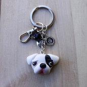 Portachiavi cane Dogo Argentino in fimo