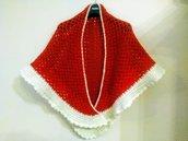 Scialle rosso con bordino panna