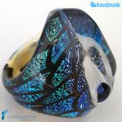 Diamante Dicroico Deco Blu – Anello fedina a fascia in vetro di Murano e avventurina fatto a mano