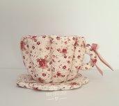 Tazza in tessuto a fiori rosa