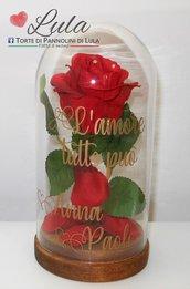 """Rosa rossa """"La Bella e la Bestia"""" in teca personalizzata con i vostri nomi + dedica """"L'amore tutto può"""" Idea regalo San Valentino"""