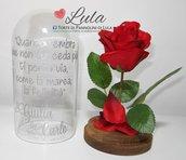 """Rosa rossa """"La Bella e la Bestia"""" in teca personalizzata con i vostri nomi e dedica a piacere! Idea regalo San Valentino"""