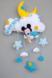 Fiocco nascita topolino dolce ninna, 60 x 35 cm più cestino portaconfetti abbinato