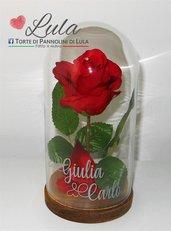 """Rosa rossa """"La Bella e la Bestia"""" in teca personalizzata con i vostri nomi! Idea regalo San Valentino"""