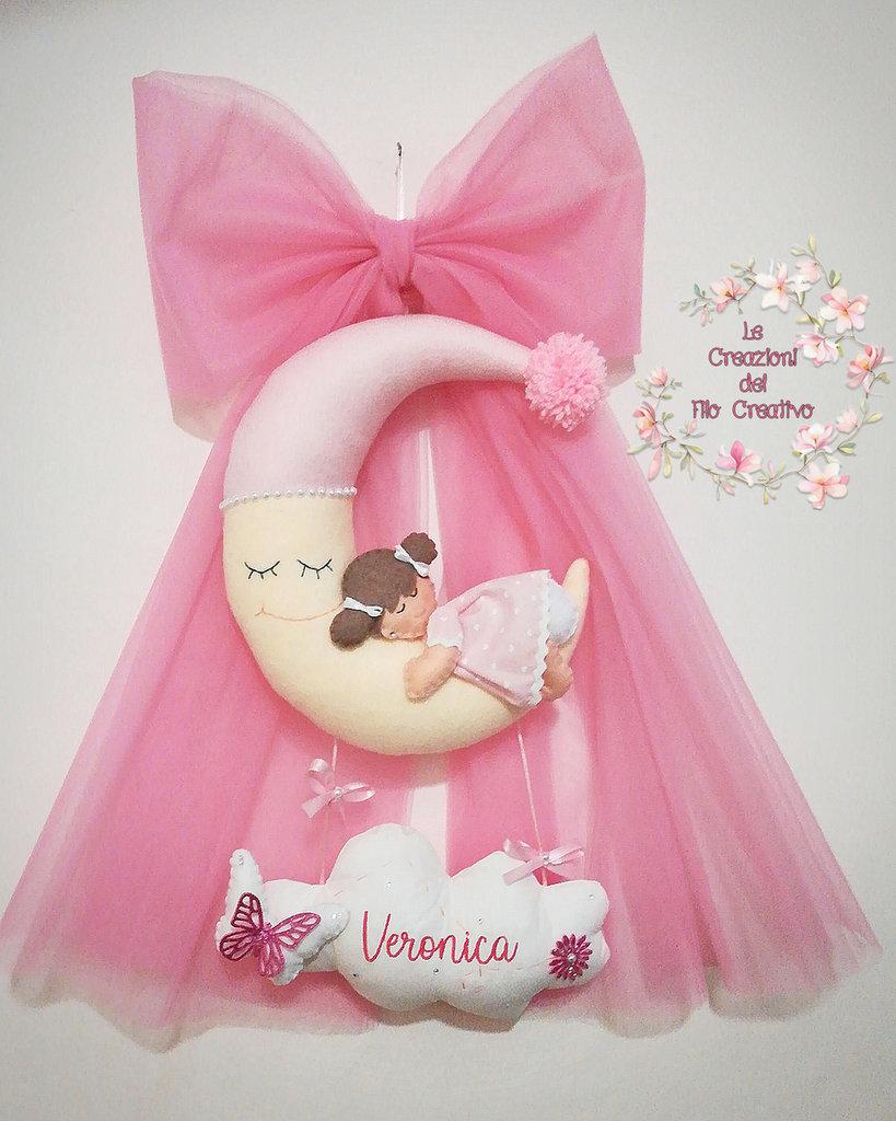 Luna con Fiocco tulle e bimbo bimba con nome personalizzato