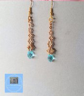 Orecchini pendenti oro con goccia turchese