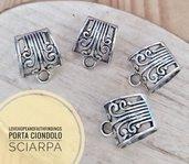 Porta ciondolo per sciarpe foulard grandi collane pietre gemme 17x18mm diametro un anello 18 mm