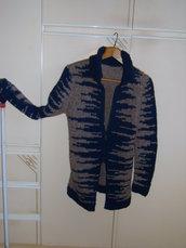 cardigan lana a due colori