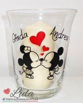 Vaso / Lanterna Topolino e Minnie innamorati! Personalizzata con i vostri nomi! + candela profumata / Romantica idea regalo San Valentino / Anniversario