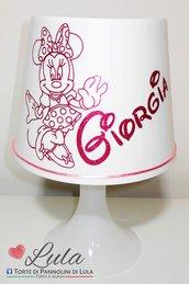 Lampada da tavolo bambina Minnie personalizzabile con nome idea regalo Compleanno Natale