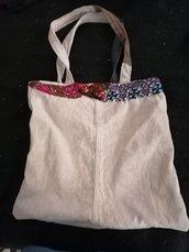 Borsa modaiola in velluto color sabbia