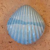 Portagioie conchiglia blu dipinta a mano