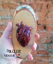 Quadro - Cuore anatomico - horror - goth - Quadro con cuore realistico in fimo e cernit - handmade su legno di betulla