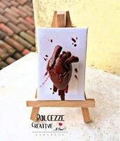 Quadretto miniatura cuore anatomico - con cuore, sangue, tela, horror, handmade