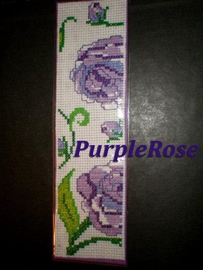 Segnalibro punto croce #4 Purple Roses