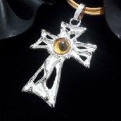 """Ciondolo """"croce"""" da donna in argento 925 con tormalina gialla fatto a mano C16"""