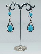 Orecchini in rame e perle e gocce in turchese