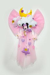 Fiocco nascita Minnie dolce ninna con fiocco di tulle rosa, 73 x 50 cm