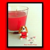 Decorazione con cane beagle con cuore personalizzato con il nome, idea regalo per san valentino per amanti dei cani