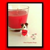 Decorazione con cane jack russell con cuore personalizzato con il nome, idea regalo per san valentino per amanti dei cani