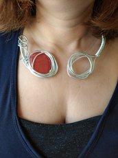 Collana donna aperta serpente argento con pietre naturali rosse