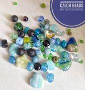 Perline di vetro ceche mix Blu circa 50gr