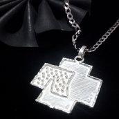 """Ciondolo """"Rammstein / metal / cross"""" in argento 925 fatto a mano C128"""