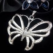 """Ciondolo da donna """"farfalla"""" in argento 925 fatto a mano C166"""