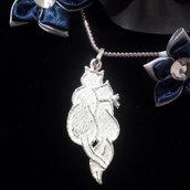 """Ciondolo da donna """"gattini"""" in argento 925 fatto a mano C07"""
