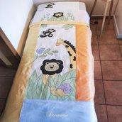 Coordinato copripiumino e lenzuola culla/lettino animali foresta fatto a mano