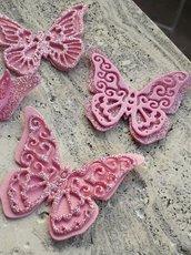 10 Farfalle 3D  in gomma crepla  fommy, gomma eva glitterata