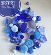 Perline di vetro ceche mix Blu elettrico 50gr circa