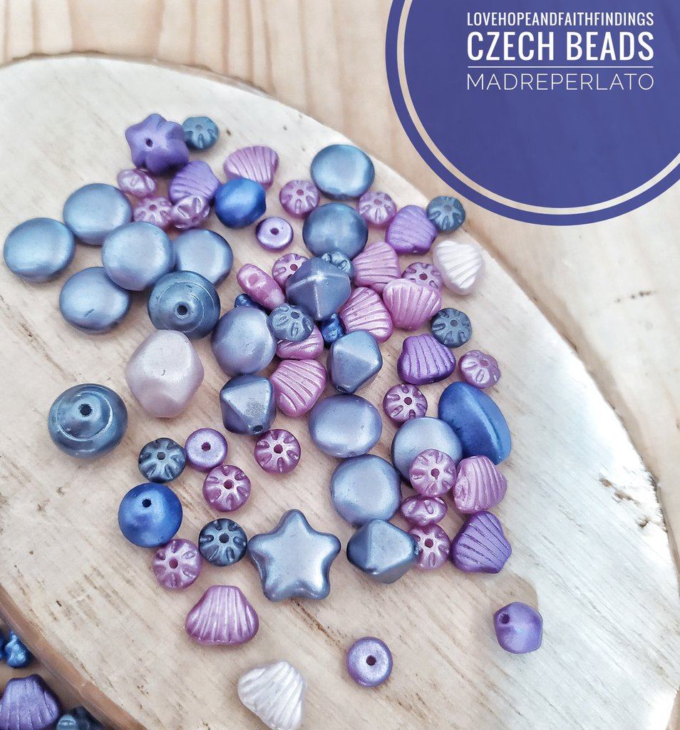 Perline di vetro ceche mix Viola lilla tema estate mare 50gr circa