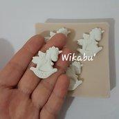 stampo tris unicorno in gomma siliconica per gesso o resina 3 unicorni
