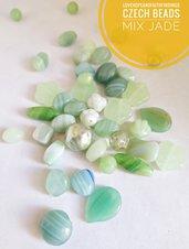 Perline di vetro ceche mix Giada verde viola 50gr circa